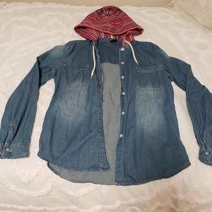 Jackets & Blazers - Jean Long Sleeve, Tribal Hood Jacket
